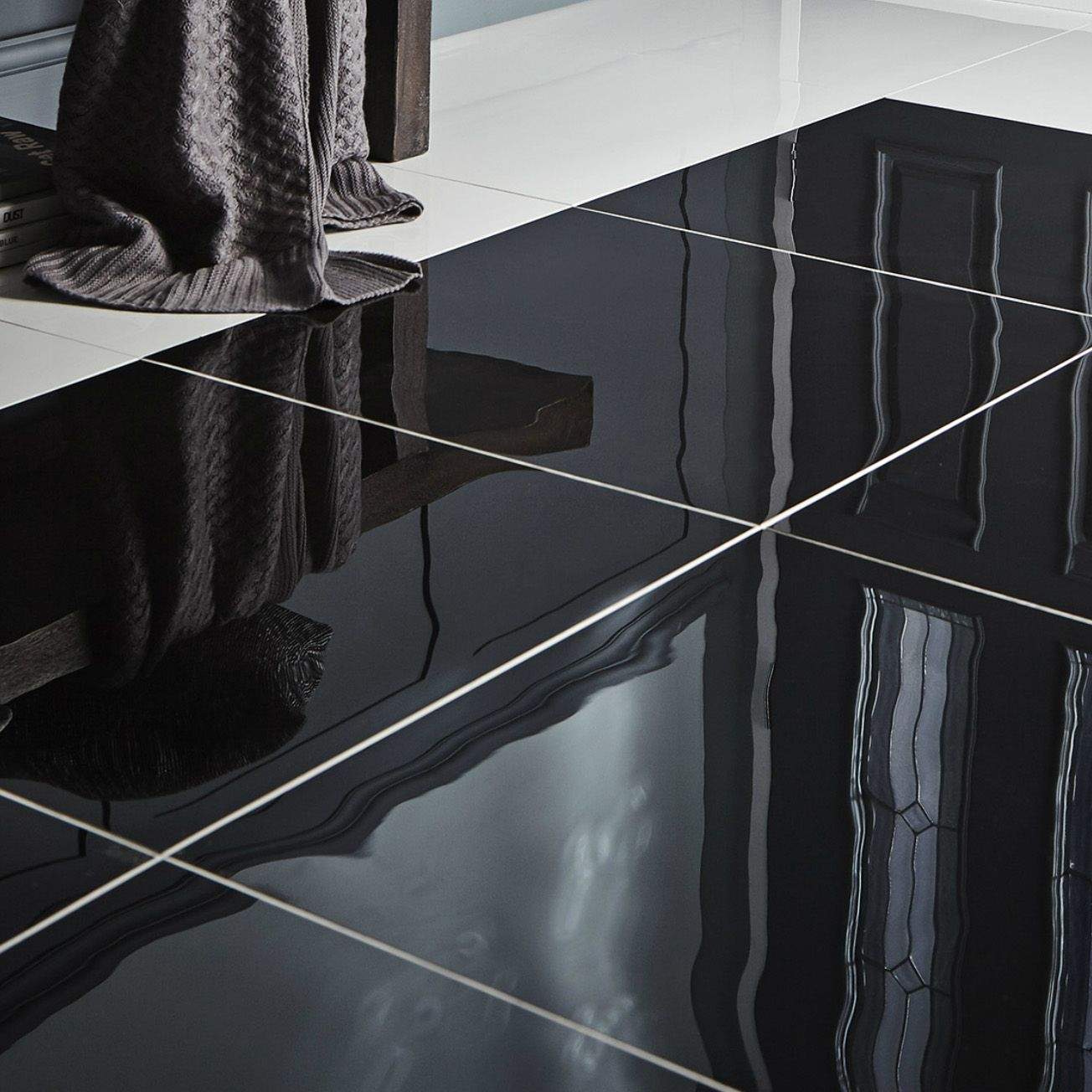 Livourne Black Polished Porcelain Floor Tile Pack Of 3