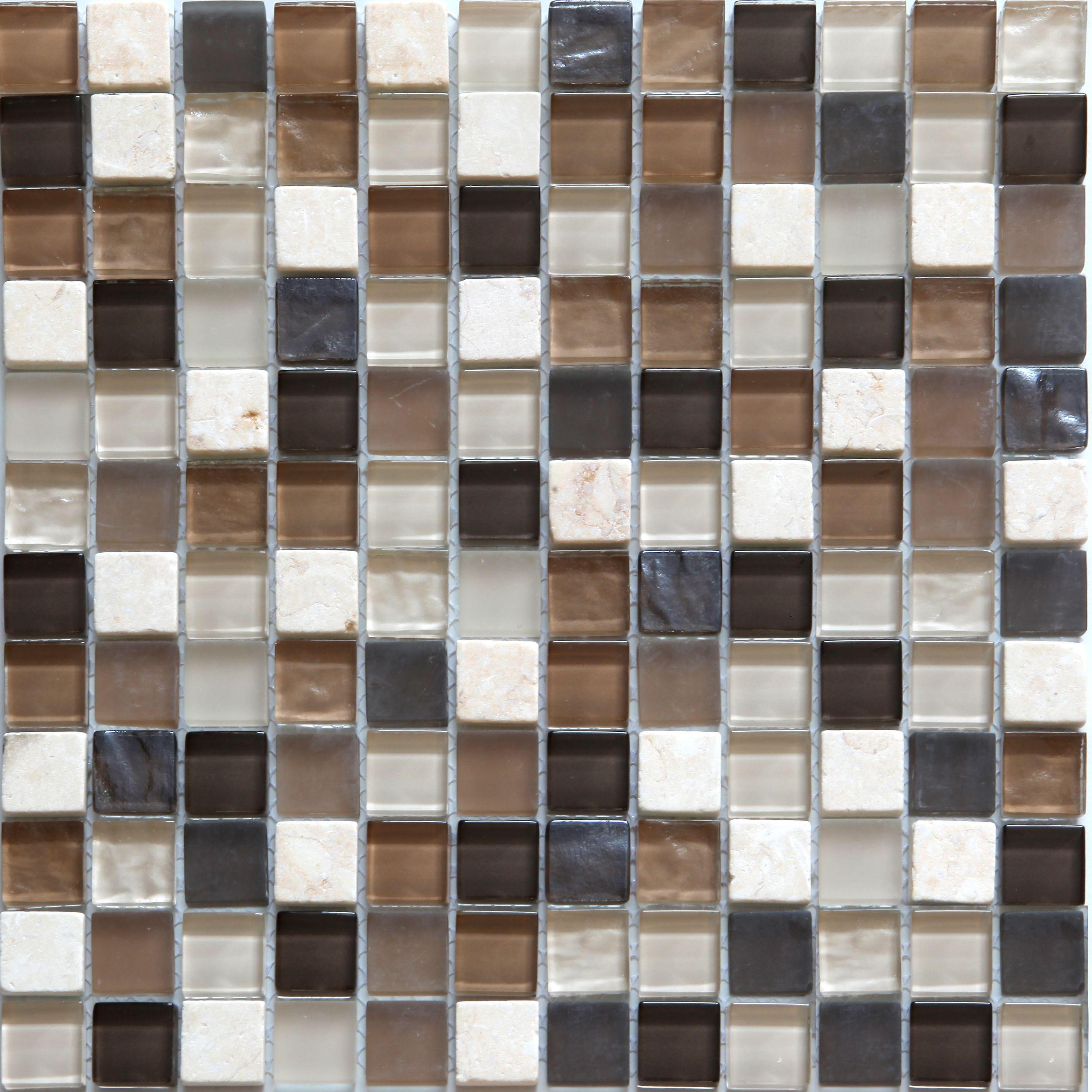 Triesto Beige & Brown Glass & Marble Mosaic Tile, (l)300mm (w)300mm