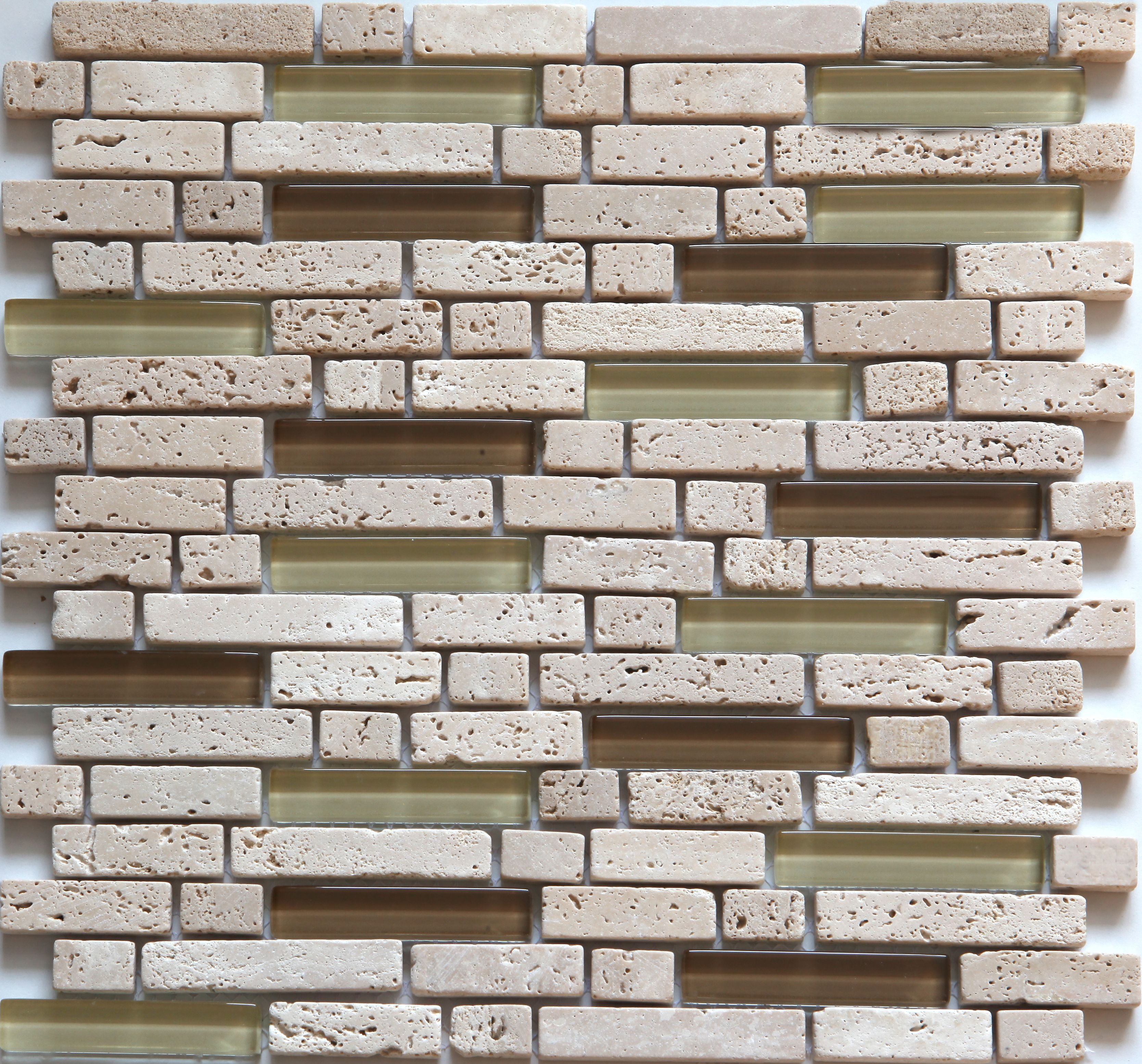 Cagliari Beige & Brown Glass & Travertine Mosaic Tile, (l)300mm (w)300mm