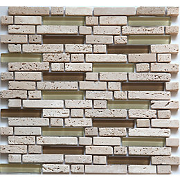Cagliari Beige & Brown Glass & Travertine Mosaic