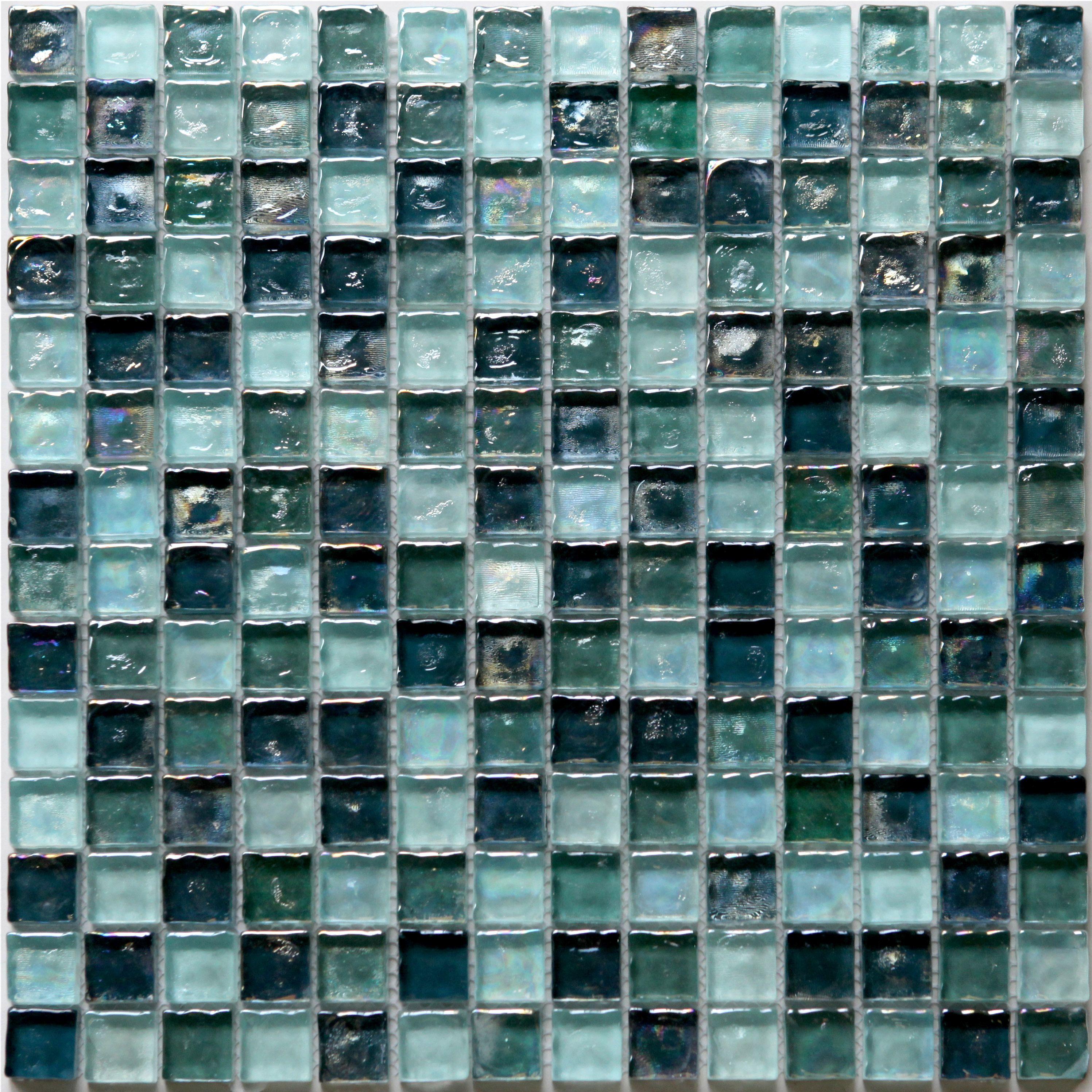 Bressia Blue Green Glass Mosaic Tile L 306mm W 306mm