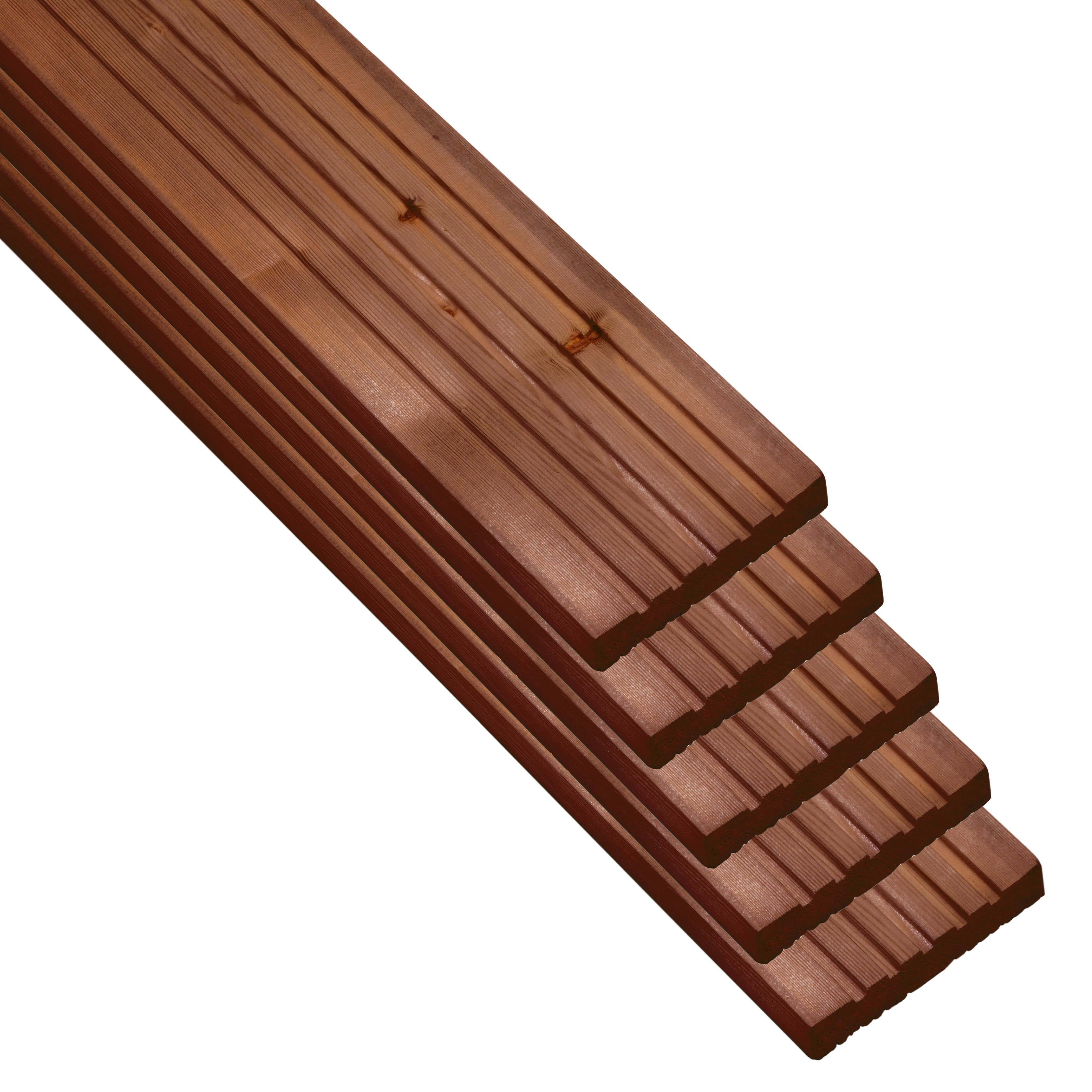 Value Brown Deck Board (t)24mm (w)120mm (l)2400mm, Pack Of 5