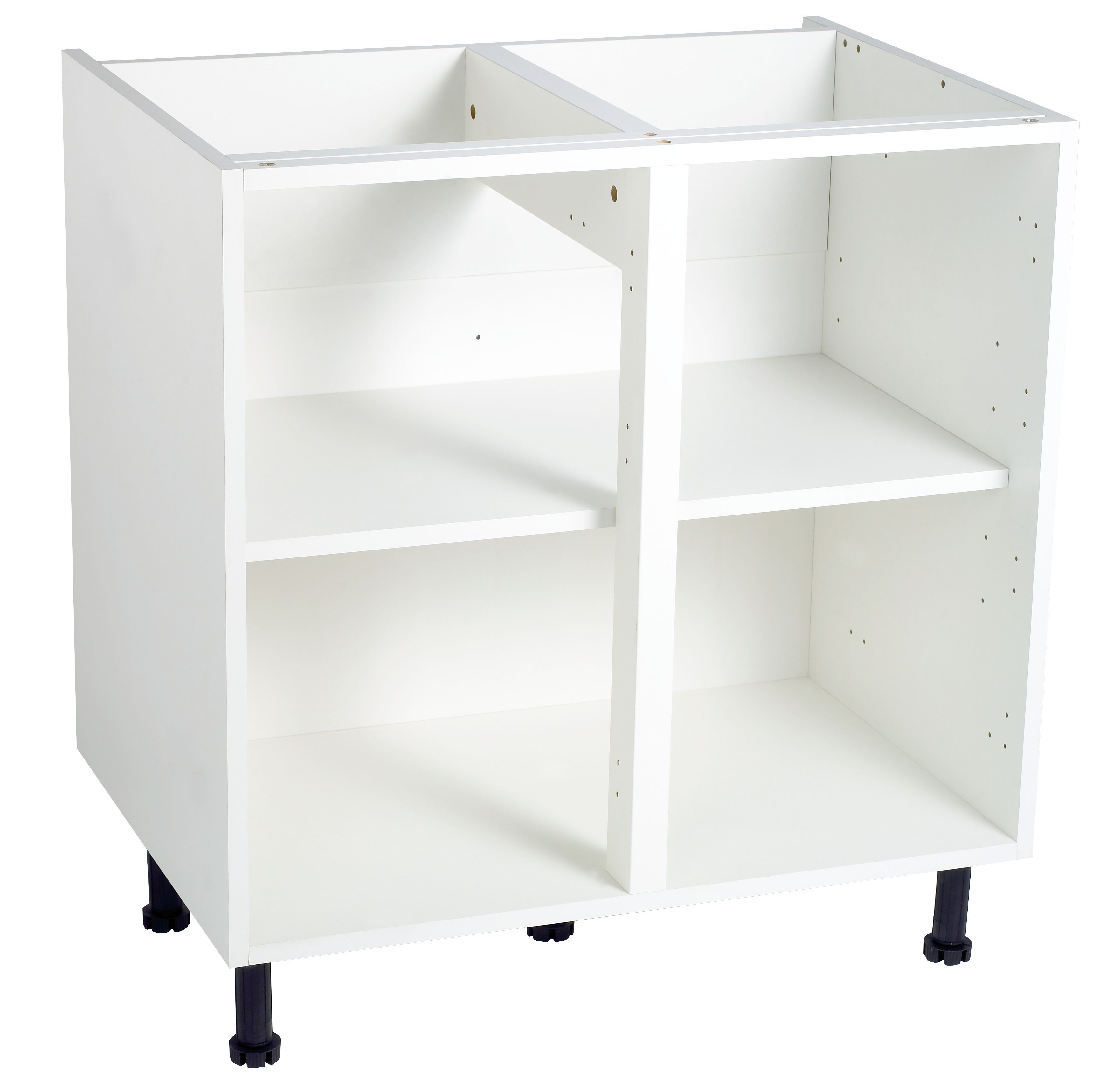 Cooke lewis white standard base cabinet unit carcass w for Kitchen cabinets 800mm