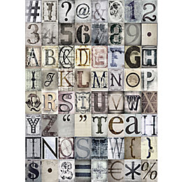1Wall Neutral Typography 64 Piece Wallpaper Collage