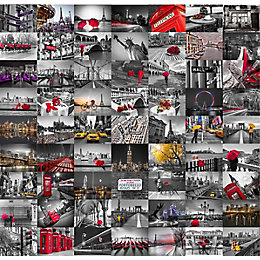 1Wall Black, Red & White City 64 Piece