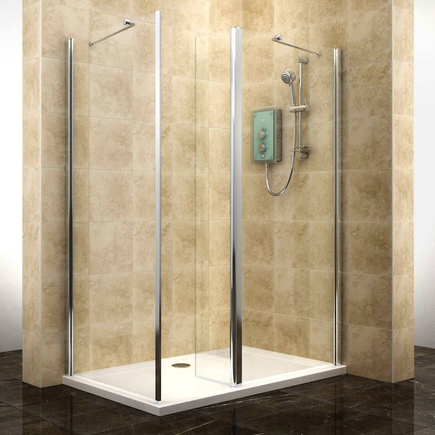 Cooke & Lewis Deluvio Rectangular Walk-In Entryshower Enclosure with Pivot  Splash Panel with Walk-In Entry (W)1200mm (D)800mm | Departments | DIY at  B&Q.