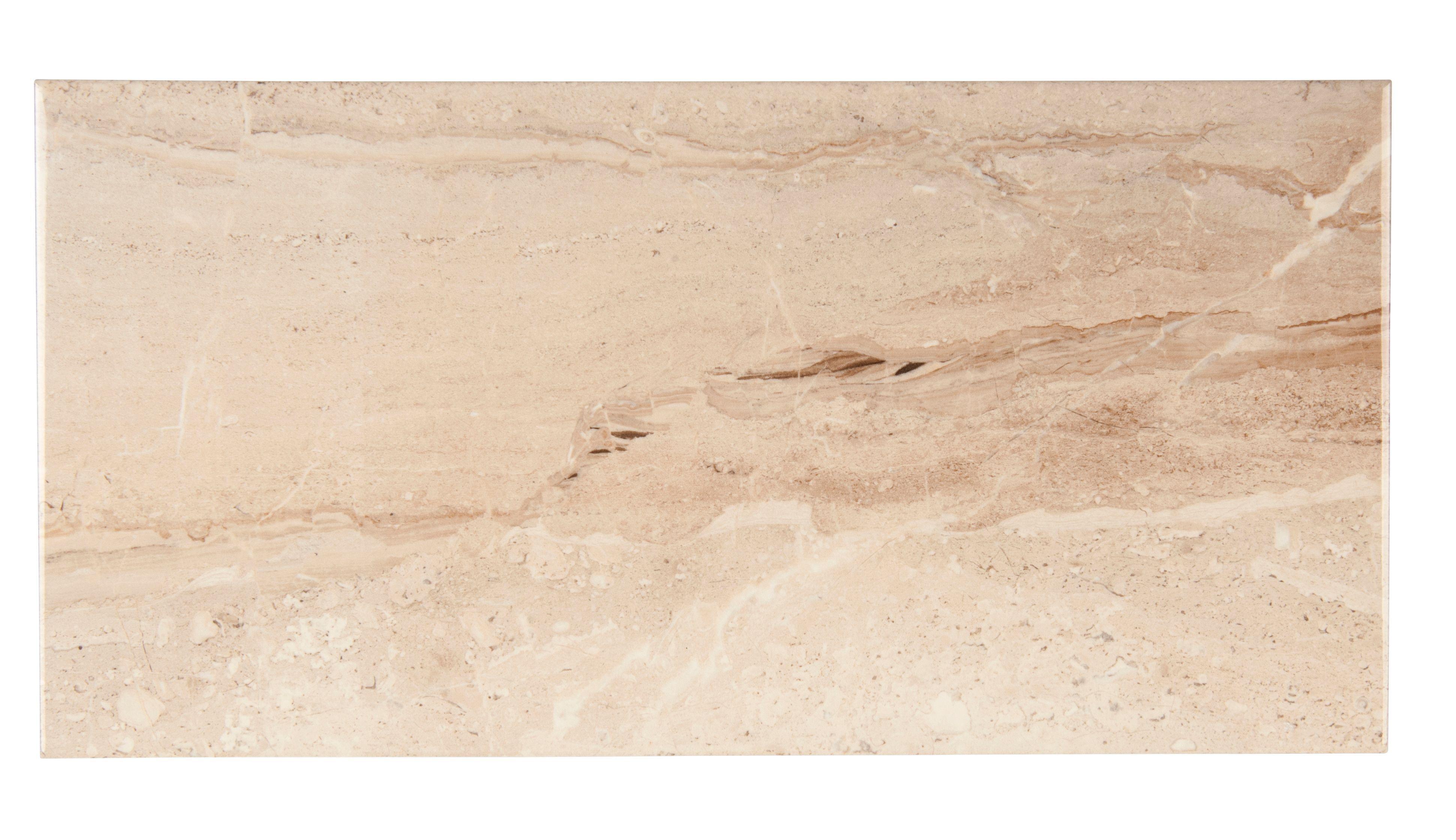 Bali Light Beige Stone Effect Ceramic Wall Tile, Pack Of 8, (l)500mm (w)250mm
