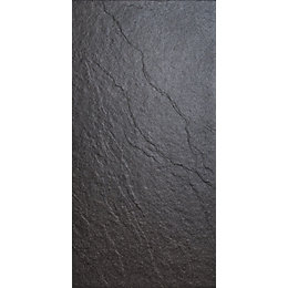 Magma Black Stone Effect Plain Porcelain Wall &