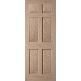 6 Panel Oak Veneer Internal Door, (H)1981mm (W)610mm
