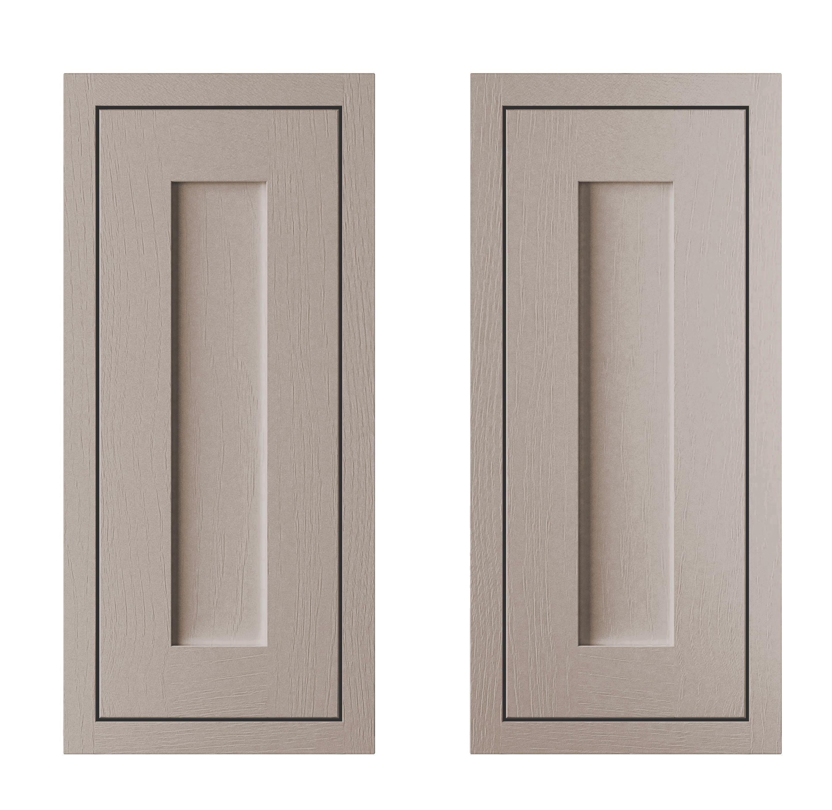 Cooke & Lewis Carisbrooke Taupe Framed Corner Base Door (w)925mm, Set Of 2