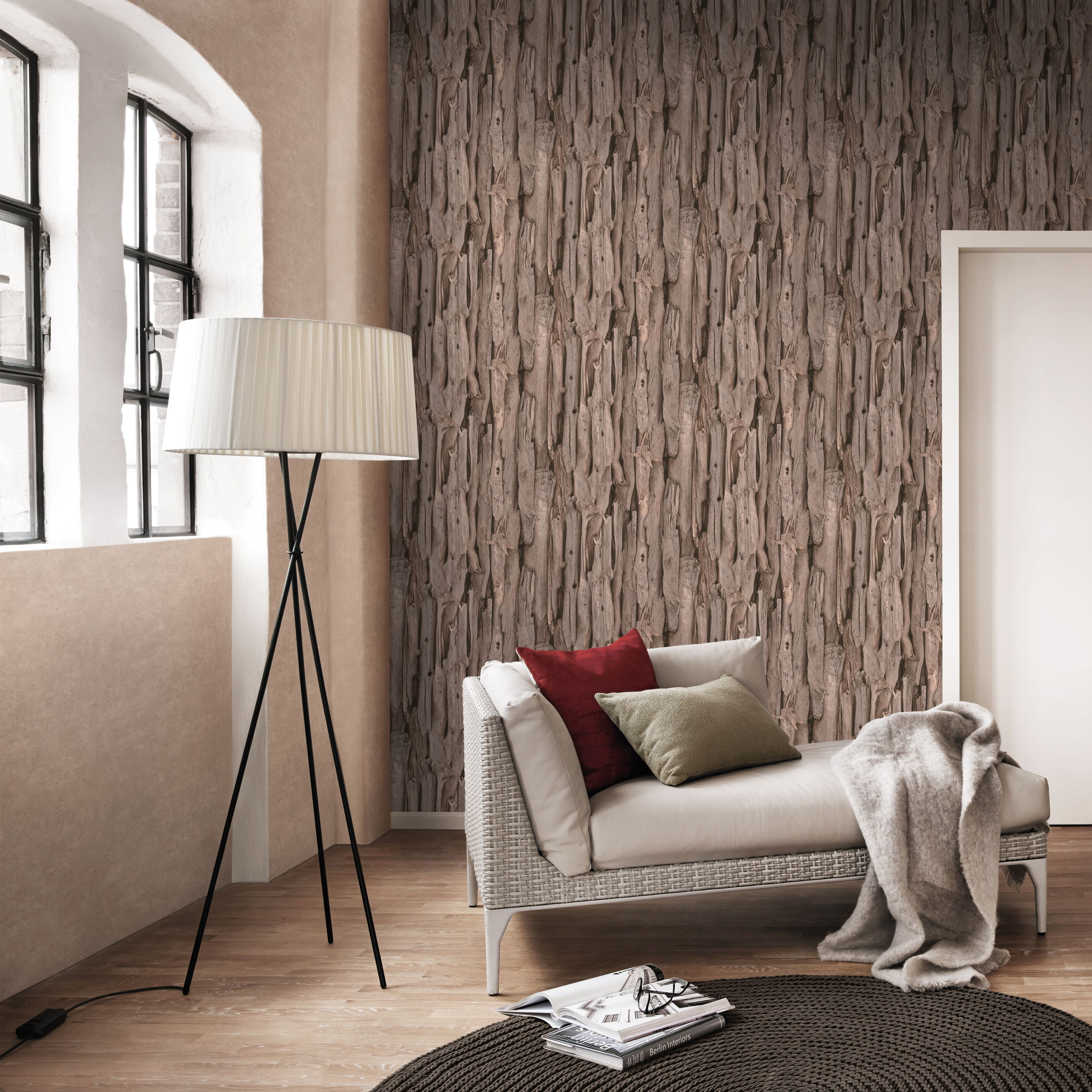 Brown driftwood vinyl wallpaper departments diy at b q for Living room wallpaper ideas b q