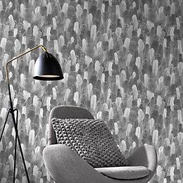 Grey Feathers Vinyl Wallpaper