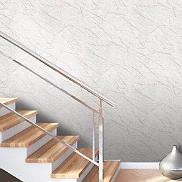 White Silver Marble Effect Vinyl Wallpaper