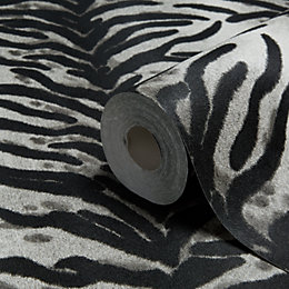 Dekora Natural Black & White Tiger Skin Wallpaper