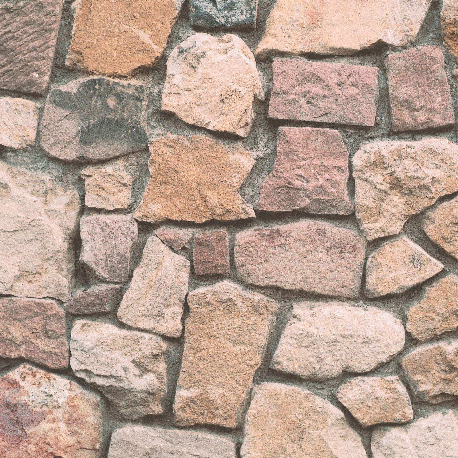AS Creation Dekora Natural Brown Cream Grey Stone Wallpaper