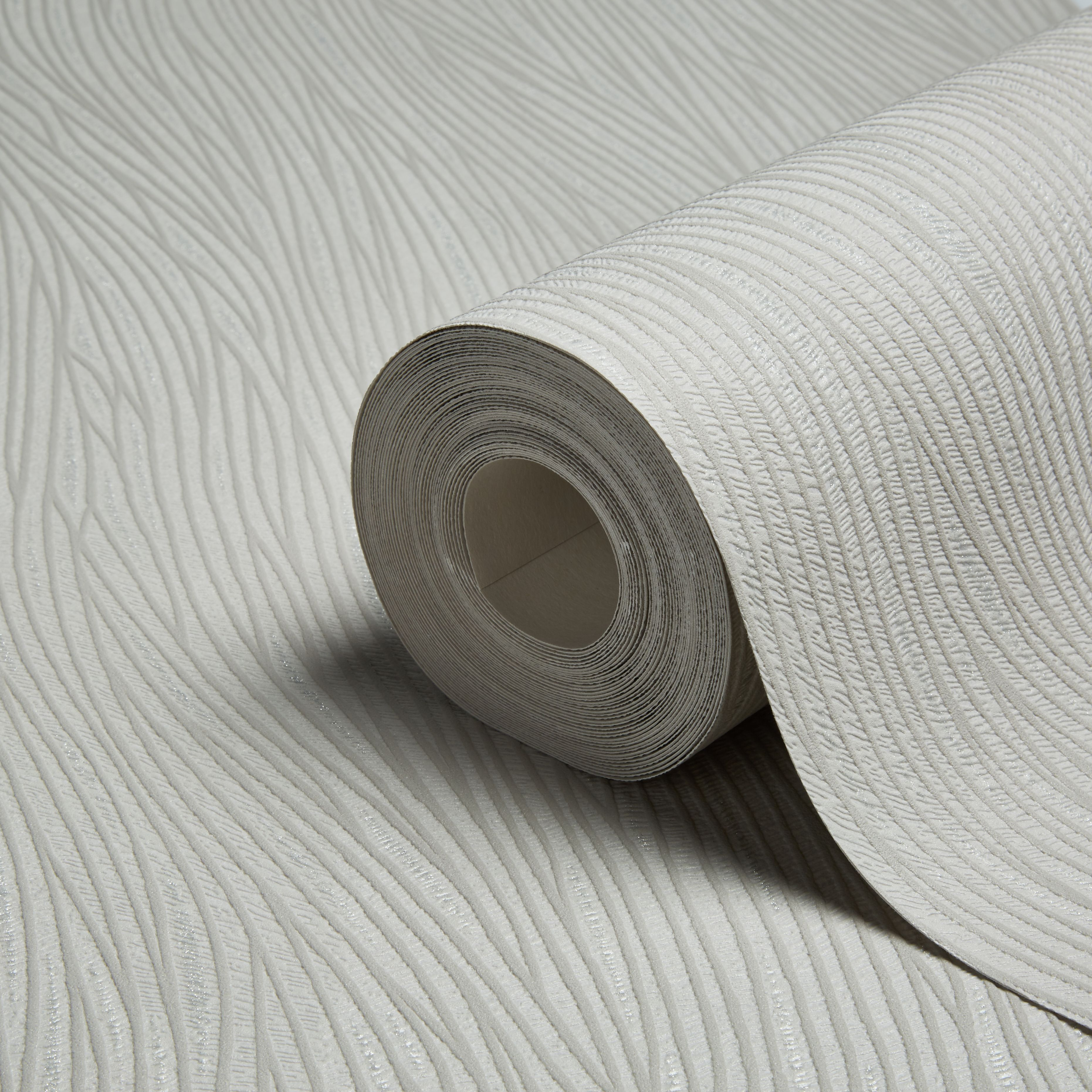 A.s. Creation Lotus Texture Grey & Silver Glitter Effect Wallpaper