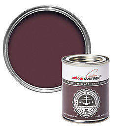 colourcourage Dark Aubergine Matt Emulsion Paint 125ml Tester