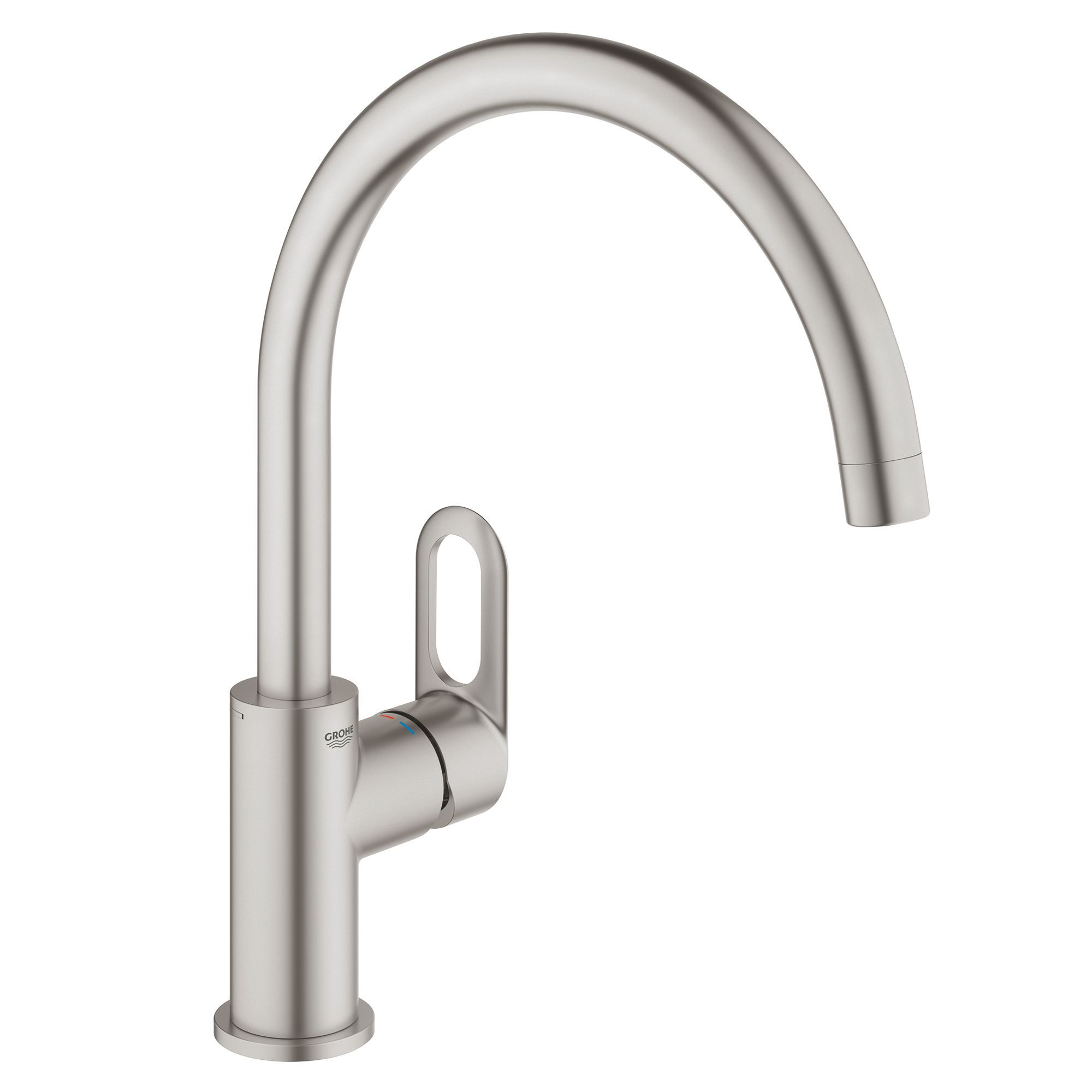 grohe start loop brushed nickel kitchen monobloc tap departments diy at b q. Black Bedroom Furniture Sets. Home Design Ideas
