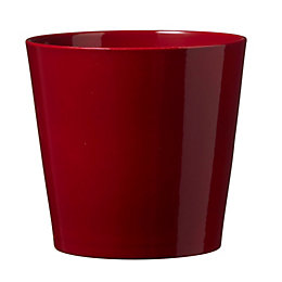 Dallas Glazed Red Gloss Plant Pot (H)130mm (Dia)140mm