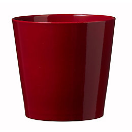 Dallas Glazed Red Gloss Plant Pot (H)18cm (Dia)19cm
