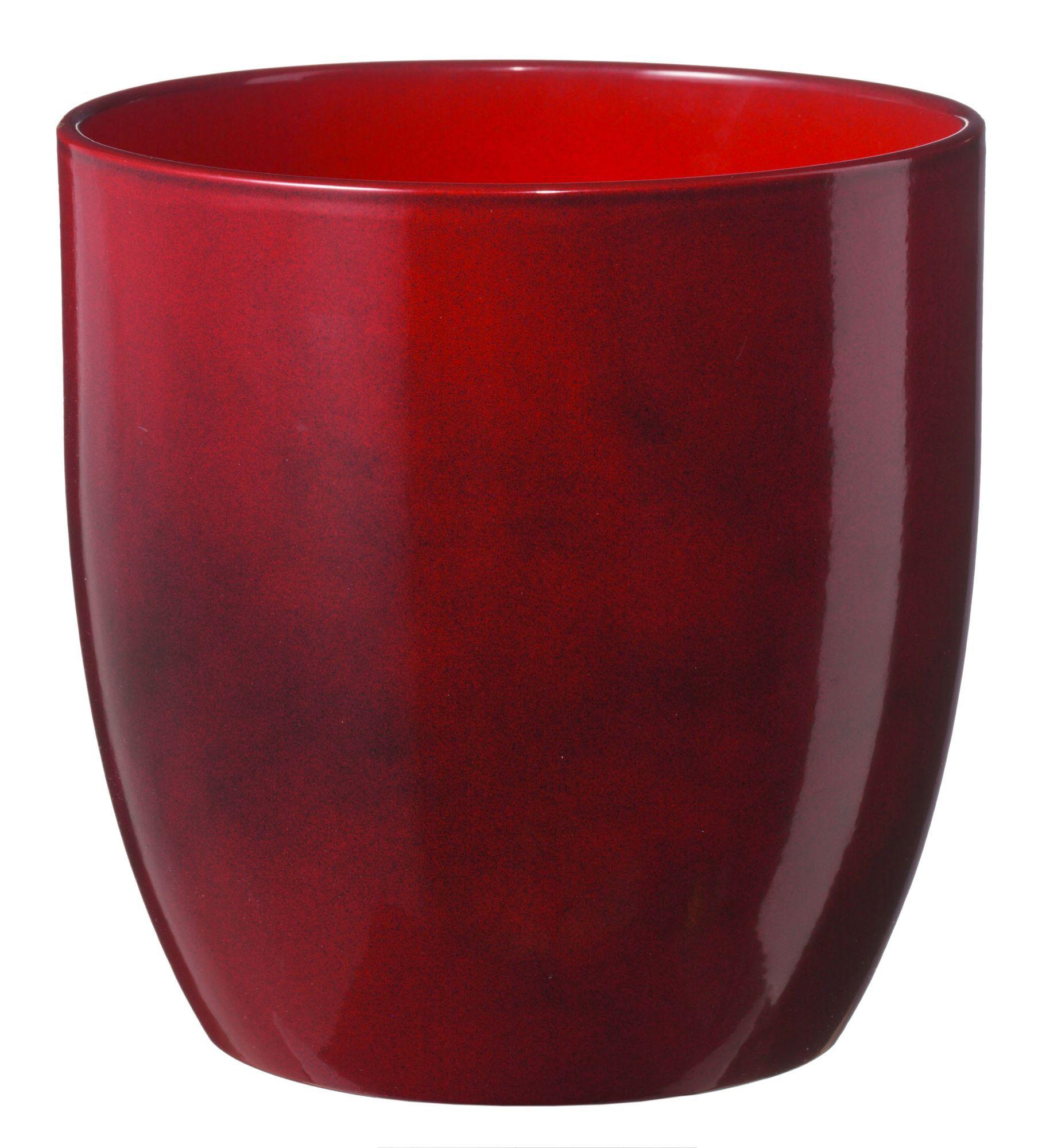 Basel Round Glazed Dark Red Brushed Plant Pot H 180mm