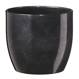 Basel Round Glazed Black Brushed Plant Pot (H)18cm