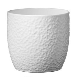 Boston Round Ceramic White Plant Pot (H)130mm (Dia)140mm