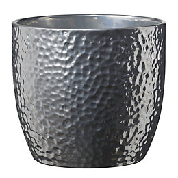 Boston Round Ceramic Silver Effect Plant Pot (H)130mm