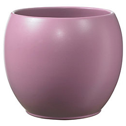 Alberta Round Ceramic Rose Plant Pot (H)100mm (Dia)120mm