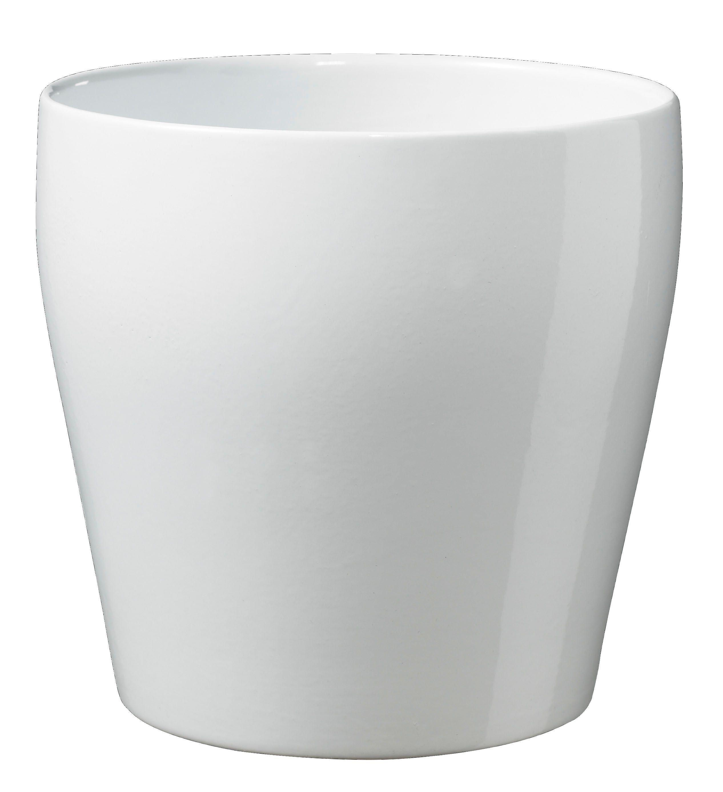 Messina Round Ceramic White Plant Pot H 190mm Dia 190mm