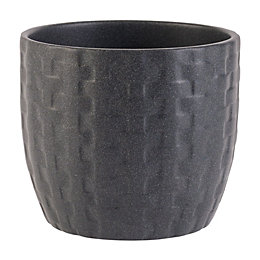 Kiruna Round Ceramic Black Powder Coated Plant Pot