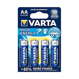 Varta High Energy AA Alkaline Battery, Pack of