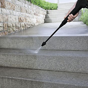 Pressure washer used to clean path