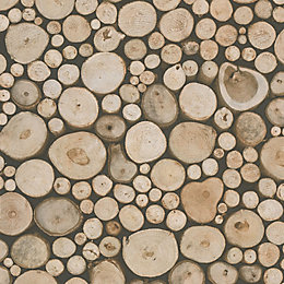 New Forest Brown Logs Matt Wallpaper