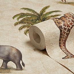 A.S. Creation Dekora Natural Elephant & Giraffe Wallpaper