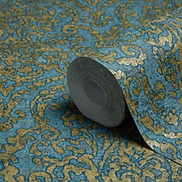 Bohemian Burlesque Petrol Blue & Gold Damask Metallic