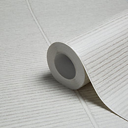 New England Silver & White Stripe Wallpaper