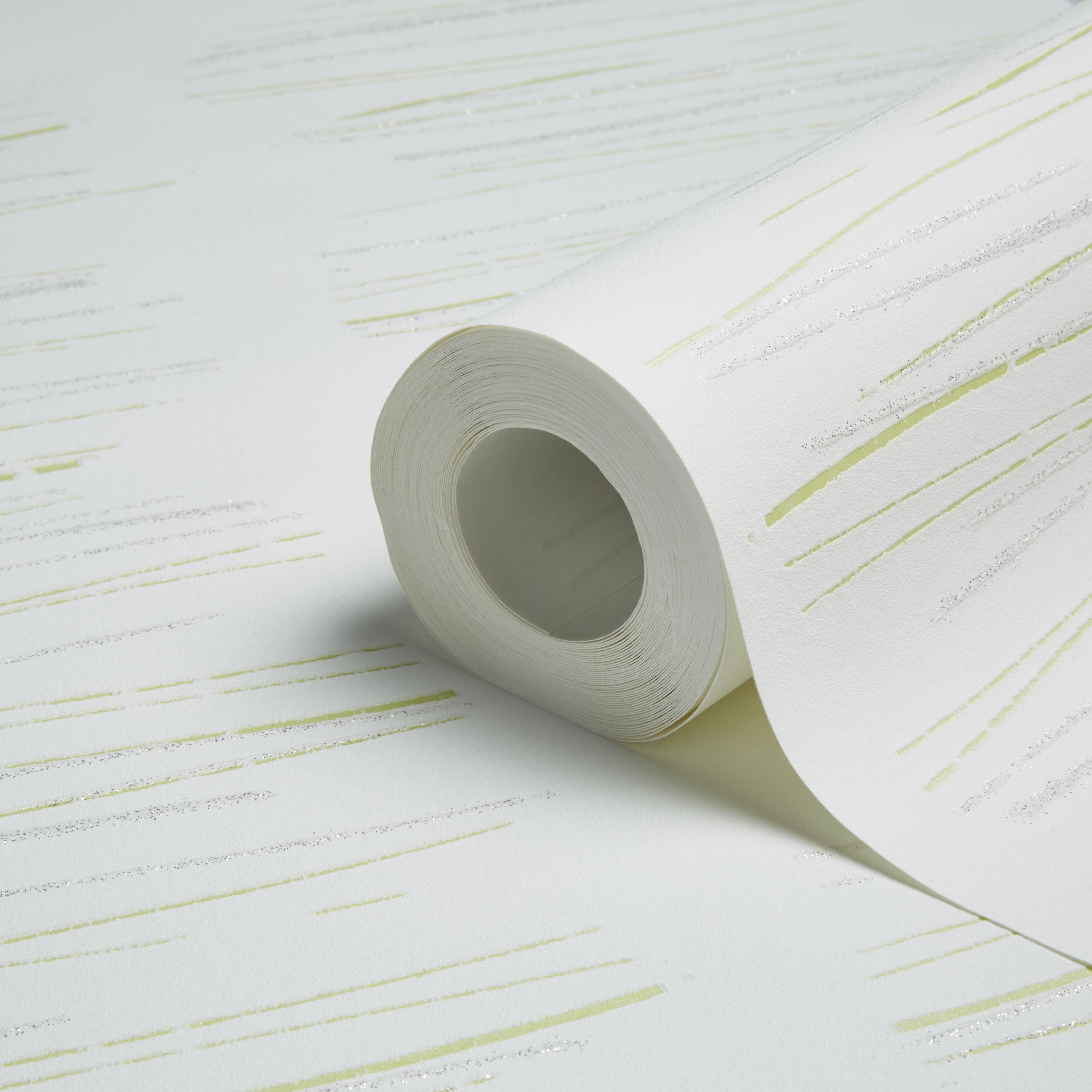 A.s. Creation Life Scribble White, Green & Silver Stripe Glitter Effect Wallpaper