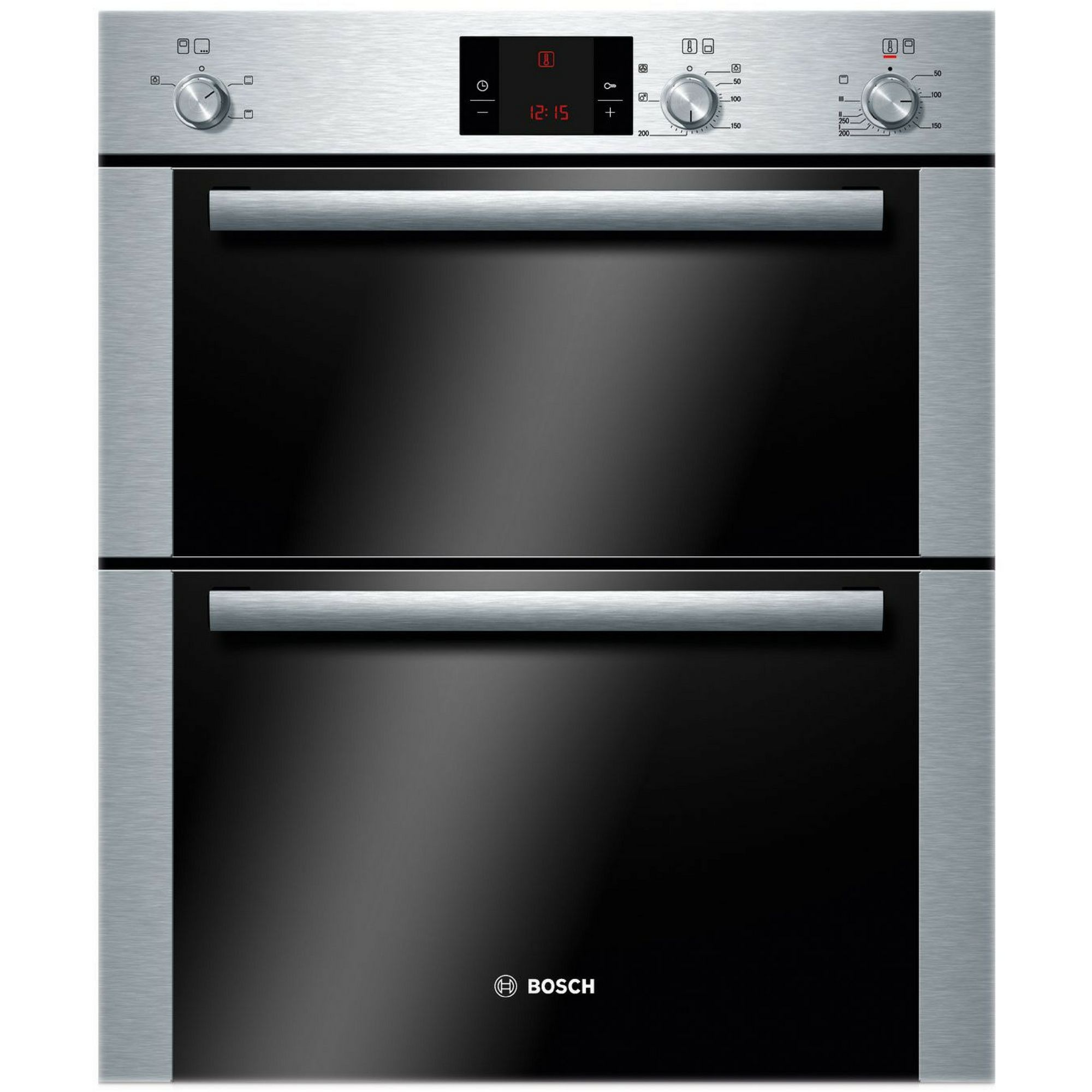Of storage both behind the worktop amp cooker and below the sinks - Bosch Hbn13b251b Brushed Steel Electric Double Oven Departments Diy At B Q