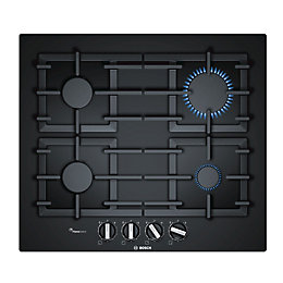 Bosch PPP6A6B90 4 Burner Black Tempered Glass Gas