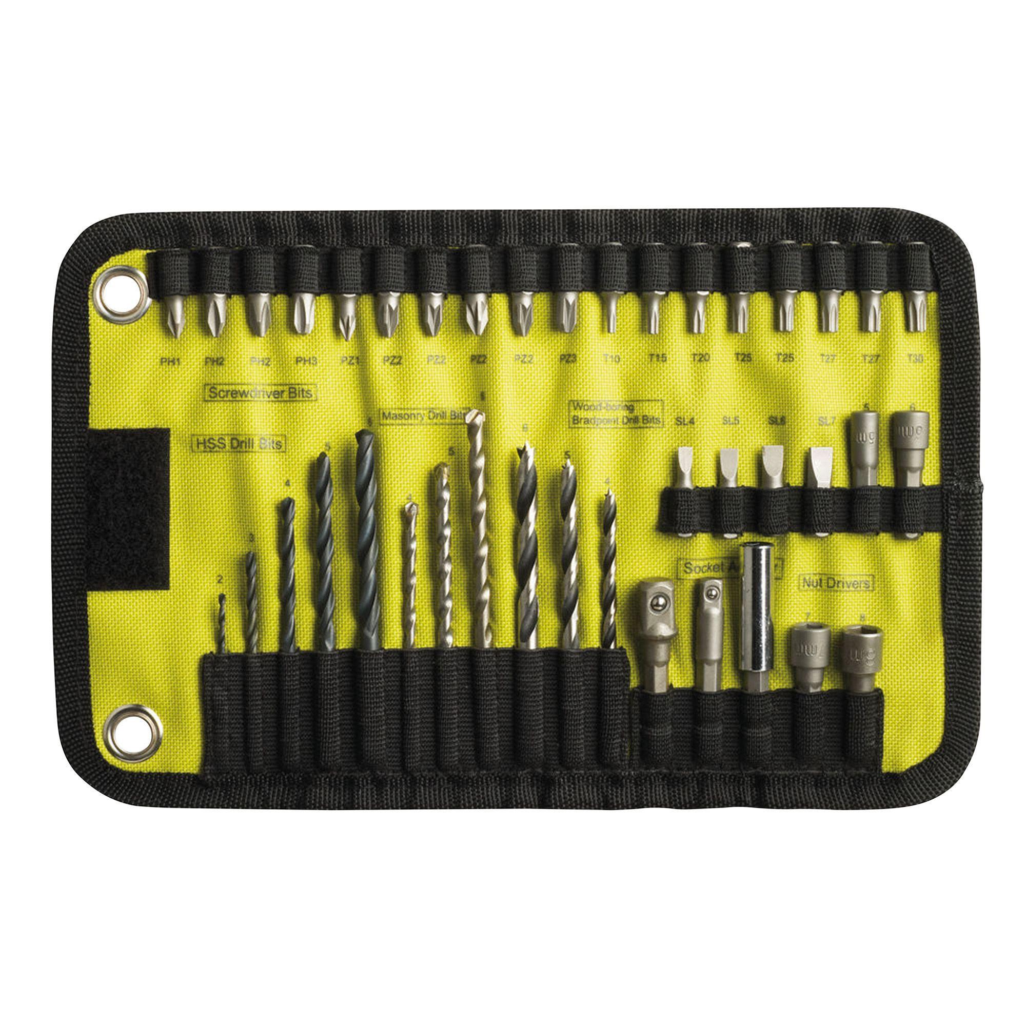 ryobi drill bit set. ryobi 2-8mm drill bit accessory set, 40 piece | departments diy at b\u0026q. set