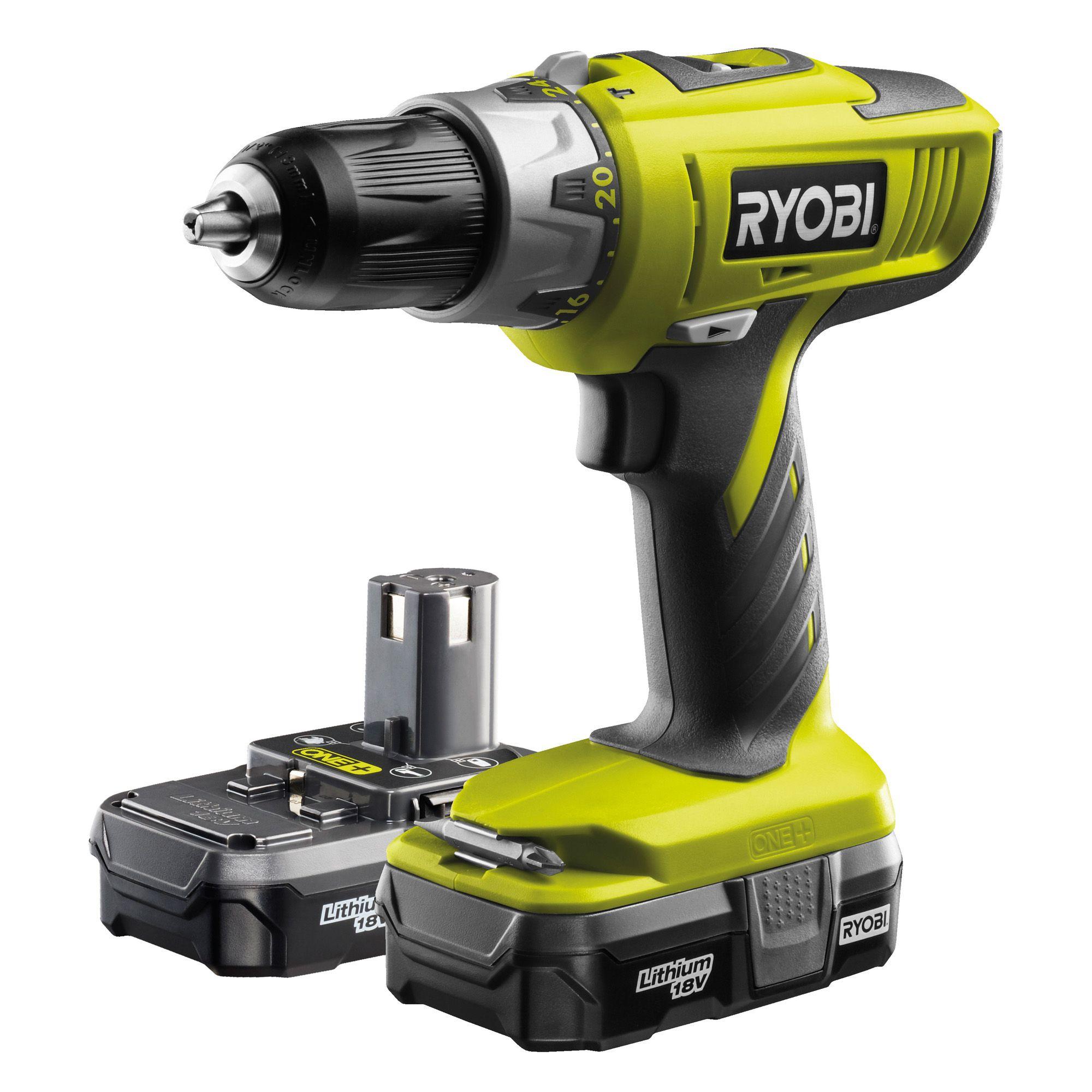 Ryobi One+ Cordless 18v 1.3ah Li-ion Combi Drill 2 Batteries Llcdi18022l
