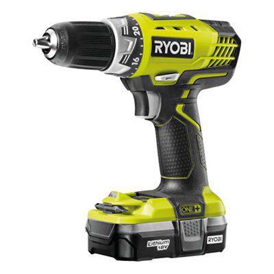 Ryobi One+ Cordless 18v 1.3ah Li-ion Drill Driver 1 Battery Rcd18-l13s