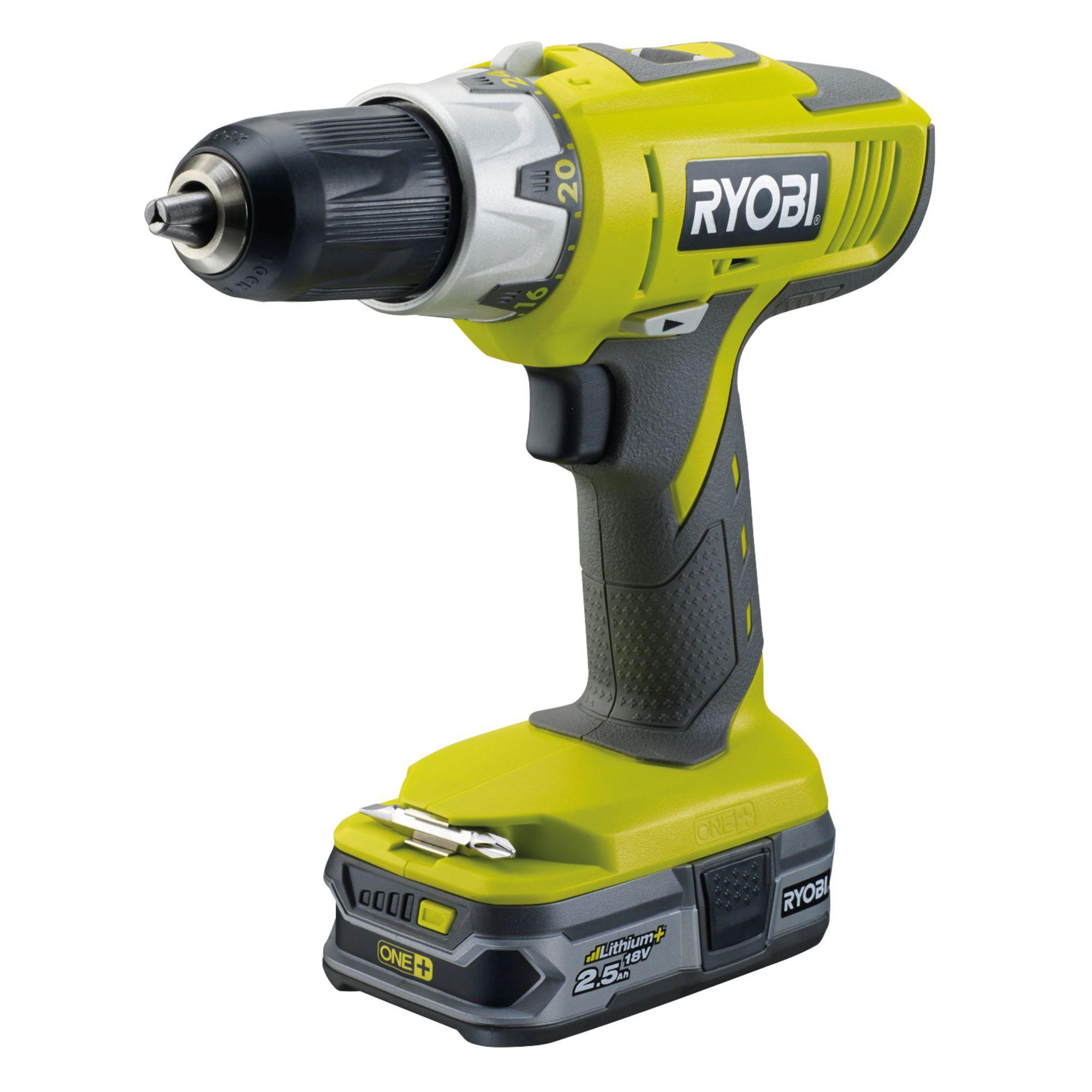 Ryobi One+ Cordless 18v 2.5ah Li-ion Combi Drill 2 Batteries Llcdi1802-ll25s