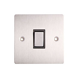 Holder 10A 2-Way Single Brushed Steel Light Switch