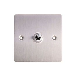 Holder 10A 2-Way Single Brushed Steel Toggle Switch