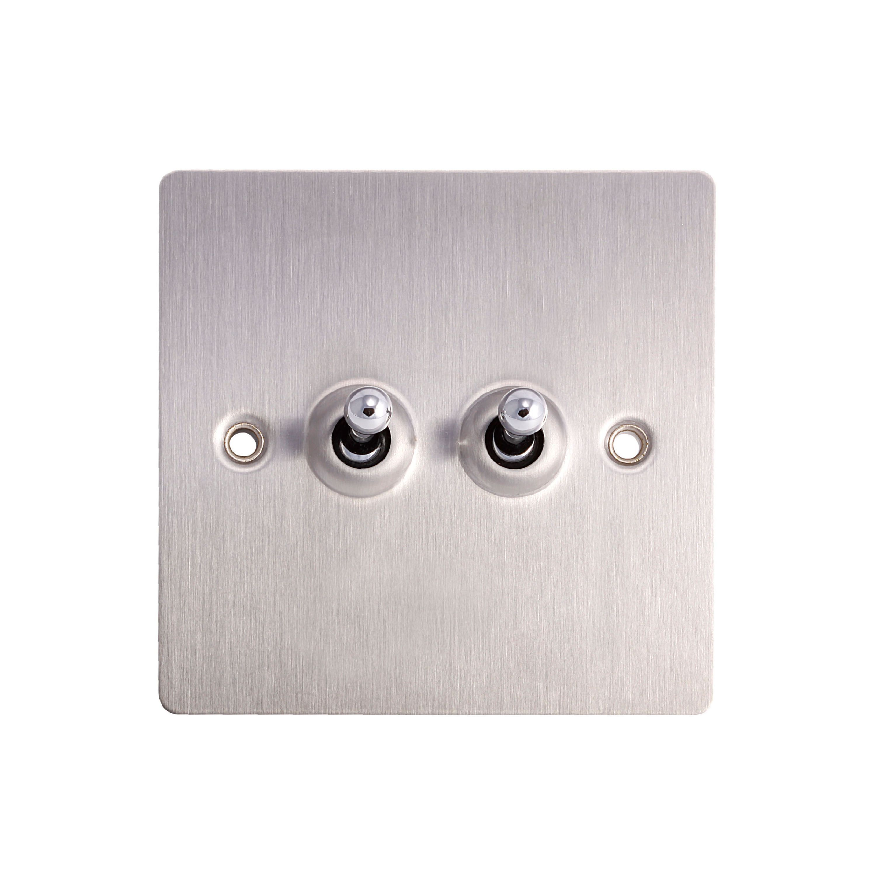 Holder 10a 2-way Double Brushed Steel Toggle Switch