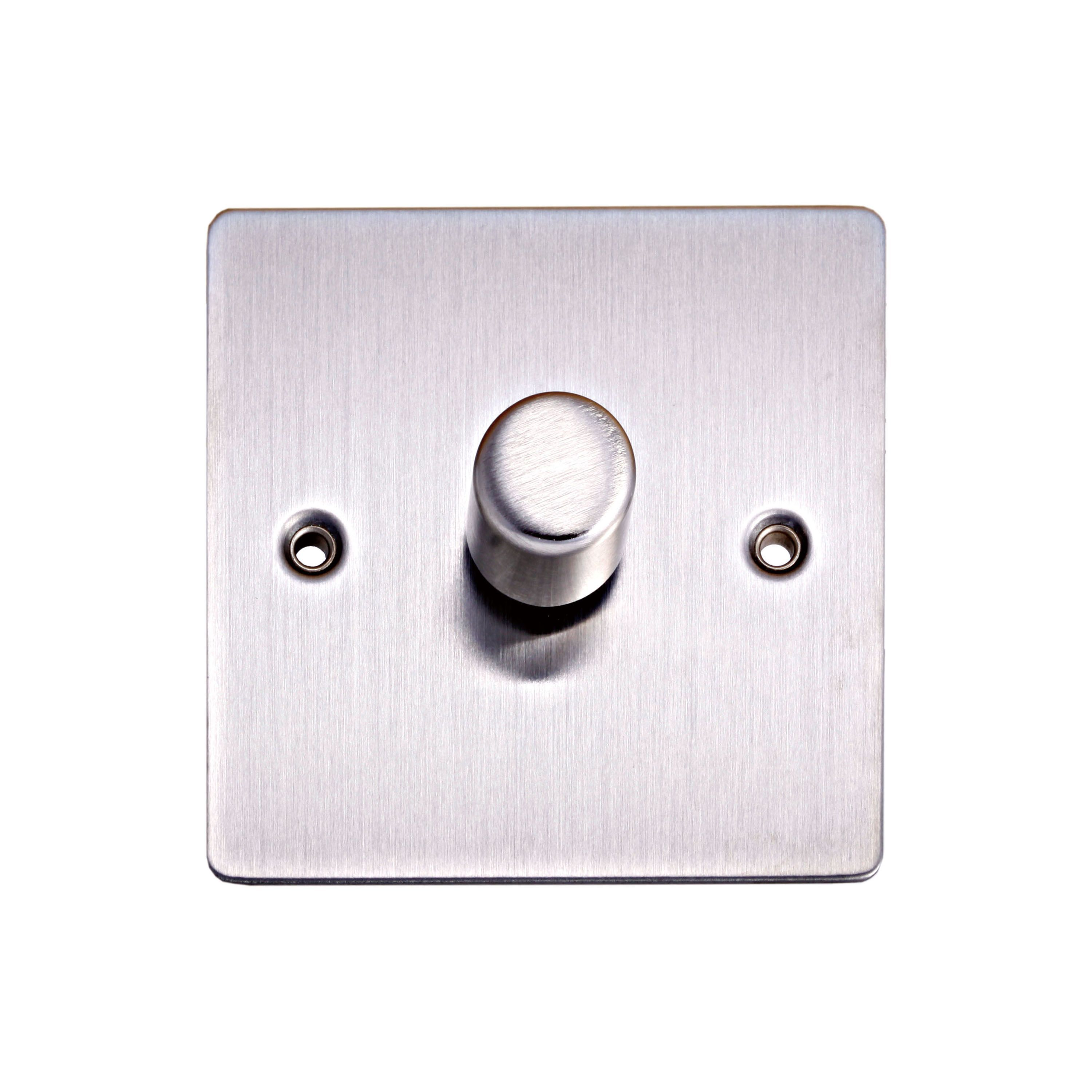 holder 2 way single brushed steel dimmer switch departments diy at b q. Black Bedroom Furniture Sets. Home Design Ideas