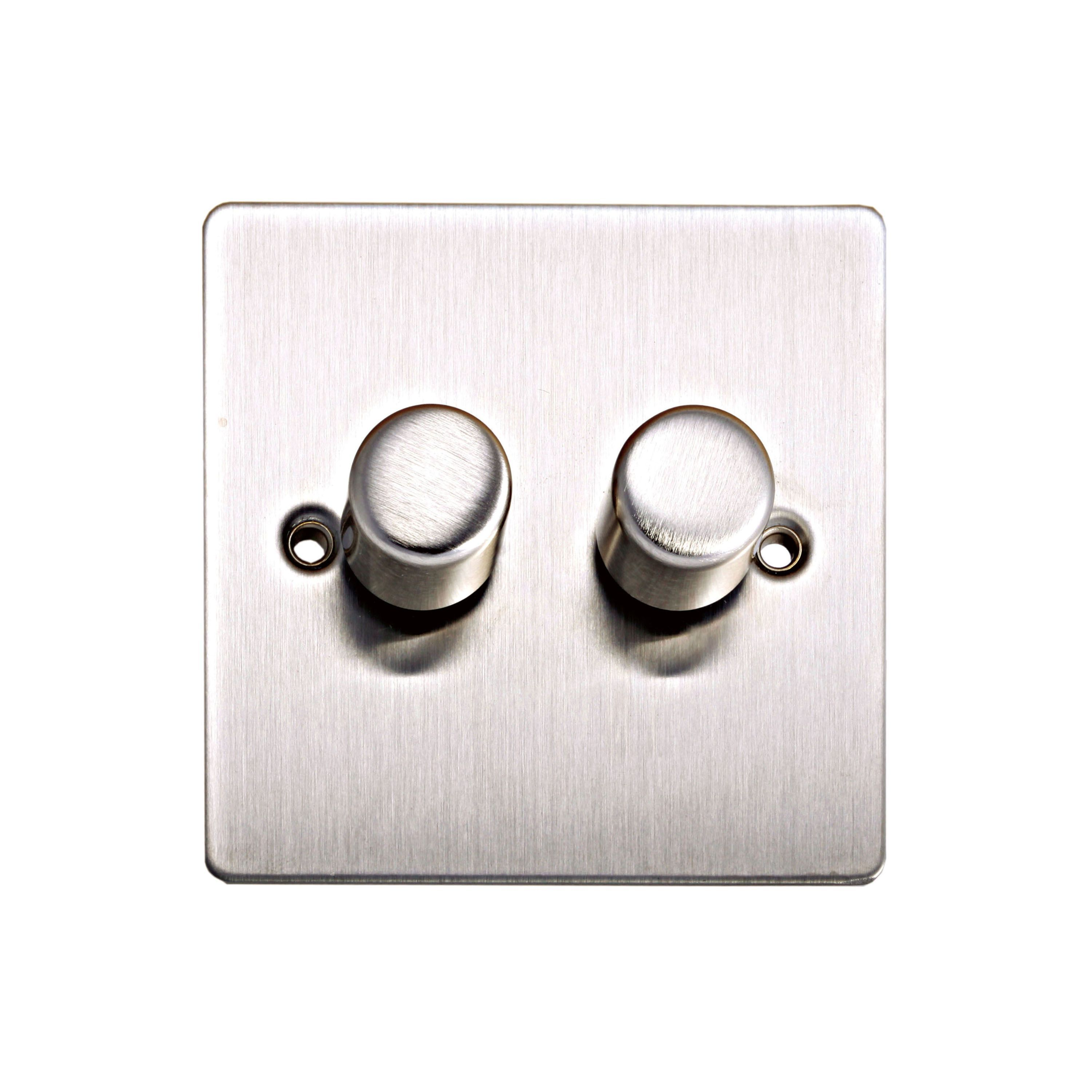 Holder 2-way Double Brushed Steel Dimmer Switch