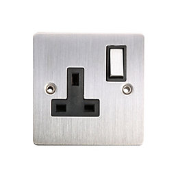 Holder 13A Brushed Steel Switched Single Socket